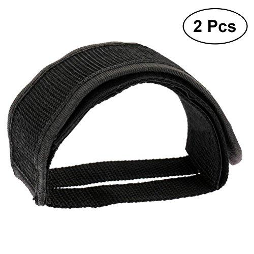 Vorcool - Cintura in velcro per pedali da bicicletta, fasce fisse per pedali della bici, set con base adesiva, con clip per il pedale, 2 pezzi, nero