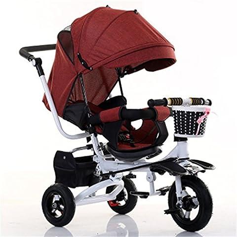 QWM-Baby bicyclettes enfants Enfant à l'intérieur de l'extérieur Petit vélo de vélo Vélo de fille à vélo pour 6 mois -6 ans Bébé Trois roues Chariot à lin, auvent / pliable / peut s'asseoir et s'allonger siège / roue gonflable Cadeau pour enfants ( Couleur : #4 )
