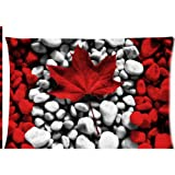 Canadian Canada flag stone wallpaper Zippered Pillow Cases Cover 20x30 Inch