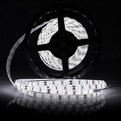 LEDMO Ruban LED,DC12V SMD 5630-300LEDs Ruban LED,IP65 imperméable Blanc Froid Lumière LED Flexible,300LEDs,Pack avec Bande LED 5M(Pas d'alimentation 12V 5A)