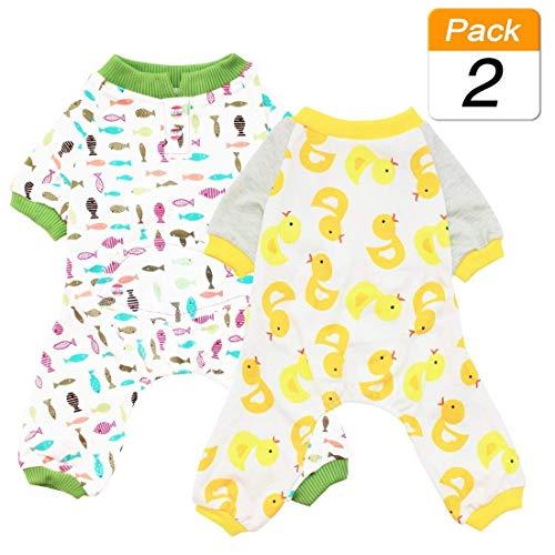 Scheppend Hund Kleidung Hund Schlafanzug Puppy Dog Pyjamas Cozy Jumpsuits Weich Haustier Schlafanzug Kleidung für Kleine Hunde und Katzen 2er Pack (Fisch Für Kostüm Hunde)