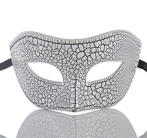 LPP Halloween-Maske, Crack Flat Head Half Face Unisex, High-End-Horror Kreative Weihnachtsfeier Wangenschleier White