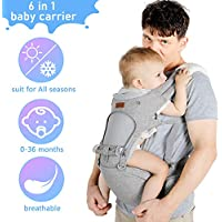Lictin Baby Carrier Wrap for Infant - Breathable Baby Carrier with 6 in 1 Carrying Ways, Ergonomic Hip Seat Baby Back Carrier for Newborn to Toddler (3.5kg to 20kg)