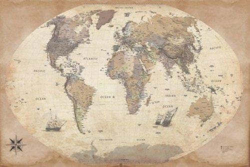 1art1 54083 Cartes Poster Carte du Monde Édition 2011 Style Ancien en Anglais 91 x 61 cm