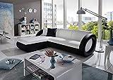 SAM Sofa Garnitur weiß - schwarz ONDA-L Couch, 180 x 236 cm Ottomane Links, exklusiv by Ricardo Paolo