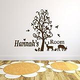 Personalisierte Waldtiere Vinyl-Wand-Kunst-Aufkleber, Wandmalereien, Abziehbild - irgendein Name (Forest Animals Design)