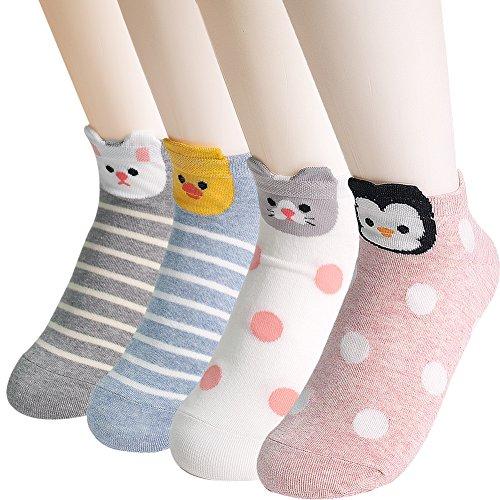 Ksocks Women's Famous Japanese Animation Socks - Best Gift Idea, Secret Santa, White Elephant Gift Exchange (Animal Dot Stripe)