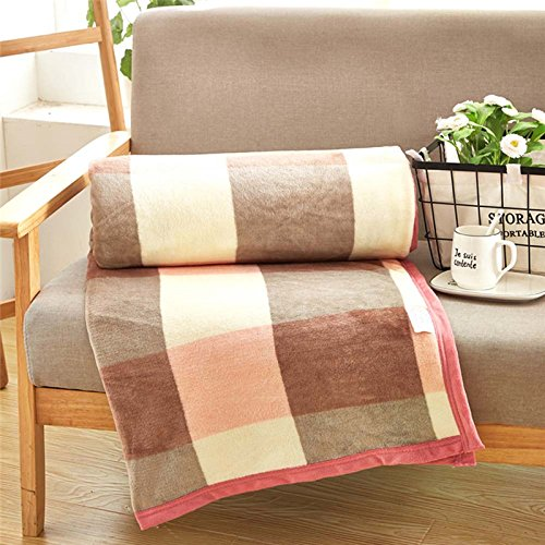 asdomo Fleece-Flanell Thermal Baby Decken Weich Tartan Plaid Streifen Wirft Cozy Plüsch Kinderzimmer Decken für Twin, Full, Queen Oder King Size Bett, Flanell, Coffee Plaid, 120cm*200cm (Thermal-baby-decke)