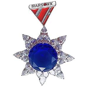 MARSOXX Brosche Saphir Orden aus Rhodiniertem Metall mit Zirkonias
