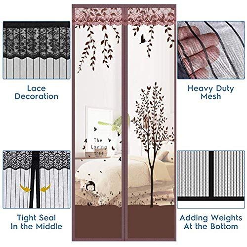 ACZZ Yoll Double Door Magnetic Fly Screen - Heavy Duty Mesh Curtain with Full, Powerful Magnets, Snap Shut Automatically for Patio, Sliding, Large Door, Fits Doors 100 * 220Cm Breeze Cross Strap