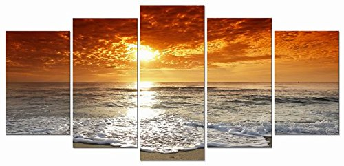 Wieco Art - Grand Sight 5 Piece Modern Landscape Artwork HD Seascape Stretched and Framed Giclee Canvas Prints Ocean Sea Beach Pictures Paintings on Canvas Wall Art for Living Room Bedroom Home Decorations