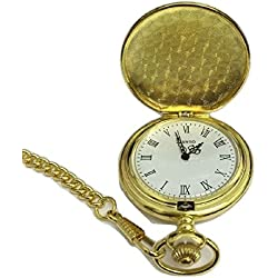 L&L® Men's Gold Vintage Hollow Steampunk Mechanical Analog Quartz Pocket Watch Fob Gift