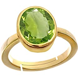 Gemorio Peridot 4.8cts or 5.25ratti Panchdhatu Adjustable Ring For Women