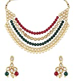 Shining Diva Fashion Jewelry Stylish Fancy Wedding Party Wear Kundan Pearl Traditional Necklace Set / Jewellery Set with Earrings for Women & Girls(Multi-Colour)(8649s)