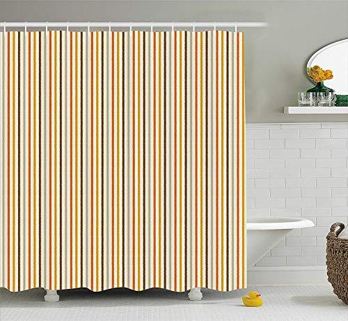 Nyngei Vintage Duschvorhang Retro 60er Jahre 70er Jahre Mode Streifen vertikale Muster Vintage Stoff Badezimmer Dekor Set mit Senf Orange