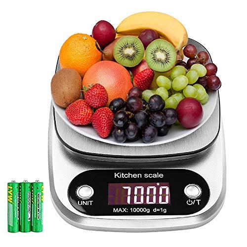 Bilancia da cucina, 10kg/1g bilancia elettronica digitale alta precisione misurazione display lcd multifunzione da cucina e acciaio inossidabile (3 batterie incluse) (bianco)