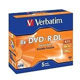 Pack de 5 DVD-R Verbatim DL en boîtier