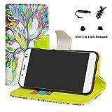 LFDZ BQ Aquaris VS Plus Hülle, [Standfunktion] [Kartenfächern] PU-Leder Schutzhülle Brieftasche Handyhülle für BQ Aquaris VS Plus/Aquaris V Plus Smartphone (mit 4in1 Geschenk Verpackt),Love Tree