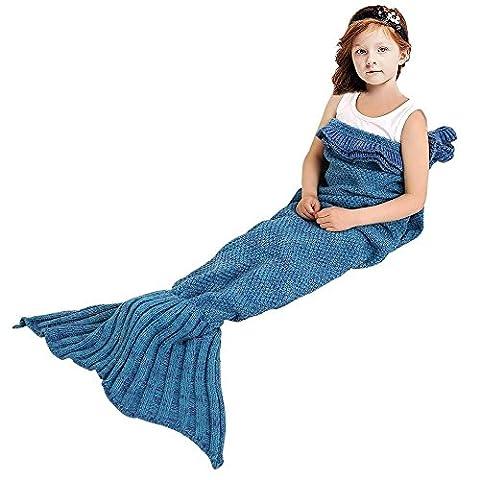 Meerjungfrau Schwanz Decke für Kinder, manuelle gehäkelte Decke, Jahreszeiten Warm, weiche Wohnzimmer, Schlafsack, bestes Geburtstagsgeschenk (Kinder Größe,