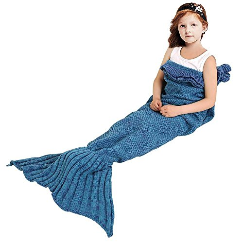 Meerjungfrau Schwanz Decke für Kinder, manuelle gehäkelte Decke, Jahreszeiten Warm, weiche Wohnzimmer, Schlafsack, bestes Geburtstagsgeschenk (Kinder Größe, (Muster Kostüme Cupcake)
