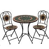 Deuba Mosaiksitzgarnitur TERRACOTTA 2x Stuhl + 1 Tisch Sitzgruppe Mosaiktisch Mosaikstuhl Gartentisch