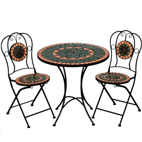 Mosaiksitzgarnitur TERRACOTTA 2x Stuhl + 1 Tisch Sitzgruppe Mosaiktisch Mosaikstuhl Gartentisch
