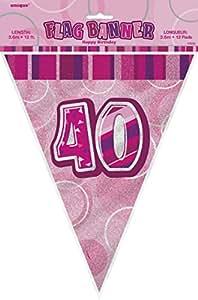 Guirlande anniversaire 40 ans rose (3,60 m)