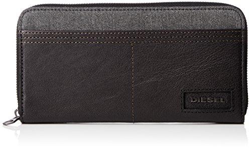 Diesel Herren D-Side 24 Zip-Wallet Geldbörse, Grey Denim/Black, Einheitsgröße -