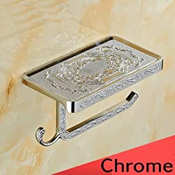 Generic Antique/Gold/Black/Chrome//White Toilet Paper Holders Mobile Phone Holder With Hook Bathroom Accessories Paper Shelf Clear