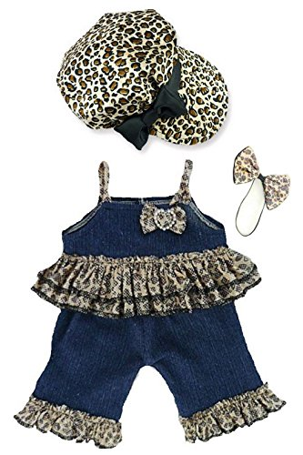 Denim Frilly Leopard Outfit Teddy Bear Clothes fit Build a Bear Teddies (Leopard Teddies)