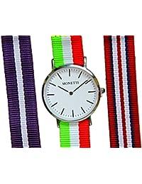 MONETTI Reloj de pulsera de cuarzo unisex, analógico, con tres brazaletes nylon, en caja de regalo.