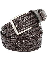 ITALOITALY - Cintura Intrecciata Made in Italy in Vera Pelle con Elastico fbf302861d84