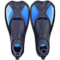Aletas cortas de natación, entrenamiento, diseñadas para mejorar la fuerza de las piernas y la flexibilidad de las tobillos. Para usar en la piscina o en mar abierto, Blue-6, XL 44-45