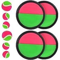 FOROREH Juego de pelota de velcro para niños, neopreno con bola de velcro con 4 discos de retención de Ø 18.5cm, 2 bolas de velcro de Ø 6.5cm y 4 bolas de velcro de Ø 4.5cm para juegos infantiles