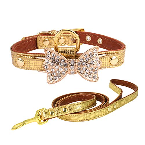 Klassische Halsbänder Strass Hundehalsbänder Kleine Kristall Hunde Bling Bogen Pu-Leder Hundehalsband Welpen Katzen Kragen Hundegeschirr Hundeleine Gold, 1,5 * 30 cm