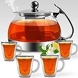 Deuba Teekanne aus Glas 1,2L mit Siebeinsatz aus Edelstahl und 4 Thermo Tassen mit Henkel, doppelwandig - Teegläser Teebreiter Teeservice Set