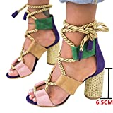 Sandalias Mujer Verano 2019 Tacon Alto 6.5CM Sandalias Romanas Cuerda De Cáñamo Zapatos Gladiador Punta Abierta Sexy Azul Negro Rosa Naranja Lunares EU 35-43 Azul 38