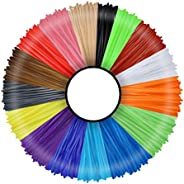3IDEA 3D Pen Printer Filament - 16 Colors 1.75mm PLA Refills Pack - Each Color 5M Length - High-Precision Diam
