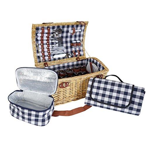 Mendler Picknickkorb-Set HWC-B23 für 6 Personen, Weiden-Korb, Porzellan Glas Edelstahl, blau-weiß