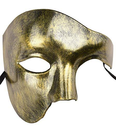 Cocono Stücke Unisex Gold Glänzende Überzogene Maskerade Maske Hochzeit Requisiten Mardi Gras Party Kostüm Zubehör Stück Vintage Antiquität Masken Maskerade Karneval Maske (Elizabeth Piraten Kostüm)