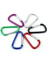 Generic 5Pcs Mixed Aluminum Carabiner D Shape Key Chain Clip Hook