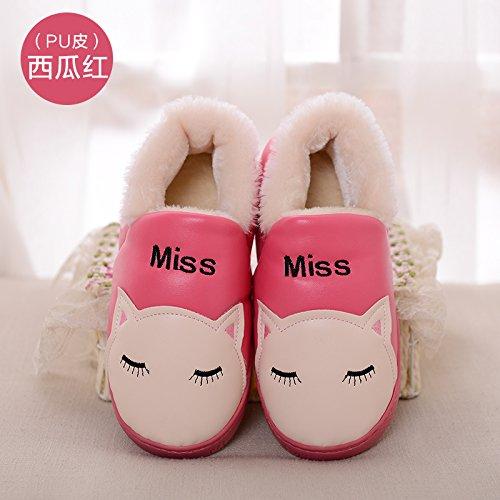 DogHaccd pantofole,Inverno PU impermeabile pantofole di cotone confezione con un paio di uomini e donne caldo soggiorno di casa con una spessa cartoon pantofole Il rosso3