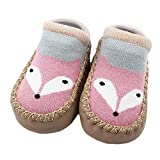 FNKDOR Cartoon Neugeborenen 0-4 Jahre Baby Mädchen Jungen Anti-Slip Socken Slipper Schuhe Stiefel (0-6 Monate, E)