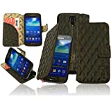 Burkley BOOK-BK2-i9190 Burkley Premium CAPITONE Leder Book Case Tasche für das Samsung Galaxy S4 Mini i9190 i9195 maßgefertigtes Wallet Cover Etui Schutzhülle mit EC-/ Kreditkartenfach und Stand Funktion in Stone Washed braun / brown - bi-color