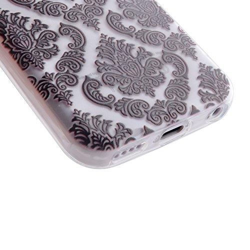 BONROY® TPU Schutzhülle für iPhone 5 5C Silikon Handyhülle Case Cover, TPU Silikon Gemalt Muster Handytasche Weiche Zurück Tasche Etui Bumper Kratzfeste Soft Back Cover für iPhone 5 5C Schwarze Spitze Blumen