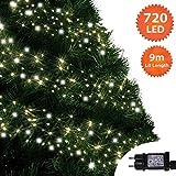 Cluster Lichter 720 LED Warme weiße und helle weiße Baum Lichter Innen-und außen 8 Modi mit Memory & Timer-Funktion, Netzbetriebene 9M/30ft Lit Länge grünes Kabel