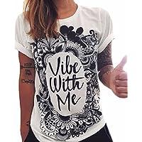 QIYUN.Z Carta Vile With Me Imprimir Manga Corta Blanca De Las Camisetas De Las Mujeres Camisetas De La Moda De La Blusa