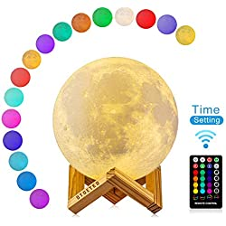 Lámpara de Luna 3D con Timer, 16 Colores RGB Luz Nocturna LED Lámpara de Noche 15cm Remoto & Tactil Control Carga USB Regulable Luz de Noche Ambiente Lámparas para Niños Bebé