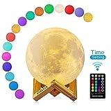 3D Mond Lampe mit Timer, DTOETKD 16 Farbe RGB Mondlicht Nachtlicht LED 15cm/5.9