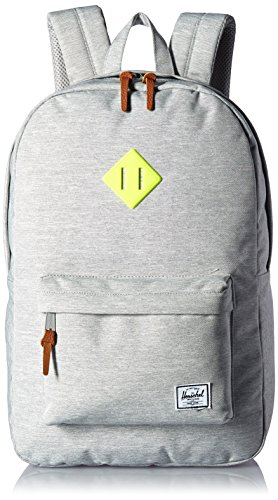 Herschel Heritage Backpack Rucksack 45 cm, light grey crosshatch/acid lime rubber